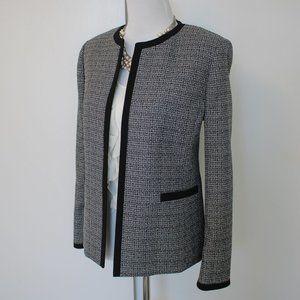 JONES STUDIO Size 12 Black White Tweed Blazer